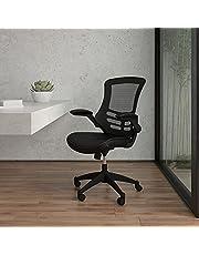 Flash Furniture Kontorsstol, ergonomisk kontorsstol med nätryggstöd, konturerad och höjdjusterbar sits och lutningslås, svart