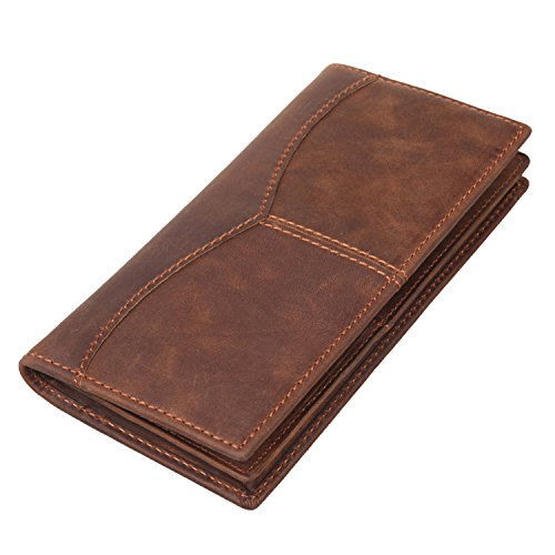 (Texbo Men's Genuine Cow Leather Bifold Long Wallet Brown )