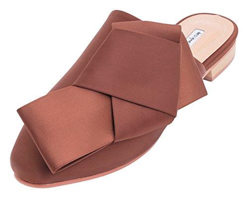 Annakastle Womens Satijn Oversized Gevouwen Boog Flats Mule Slide Slipper Bruin