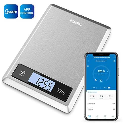 RENPHO Smart Nutrition Food Scale, Digital Kitchen Scale with Nutritional Calculator for Keto, Macro, Calorie and Weight Loss with App, Stainless Steel