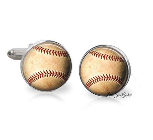 Vintage Style Baseball Cuff Links for Sports Fan - Groom Wedding Cufflinks - Silver Plated, Stainless Steel or Sterling Silver Available