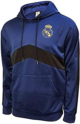 Real Madrid F.C. Front Fleece Jacket Sweatshirt Official Soccer Hoodie Navy