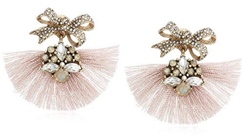 (Badgley Mischka Pink Fringe and Bow Encrusted Drop Earrings, Gold )