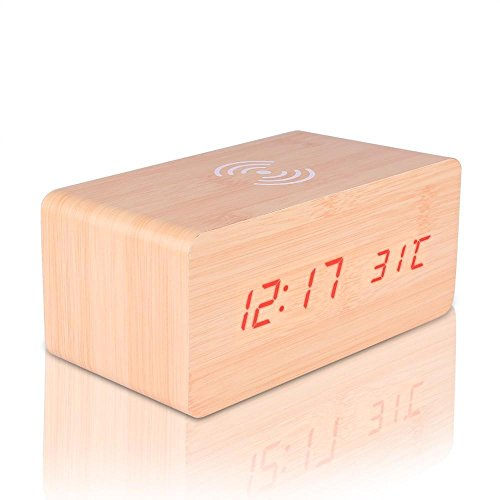 Qi Wireless Charger Wooden LED Alarm Clock Sound Control