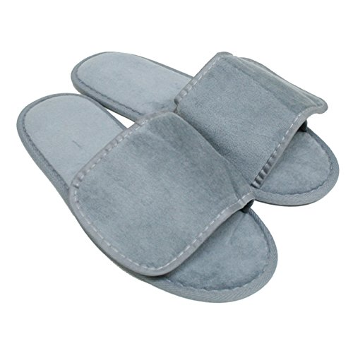 Terry Nylon Fabric Closure Open Toe Unisex Slippers Wholesale 100 Pcs (One Size 11'', Cool Grey) by TowelRobes