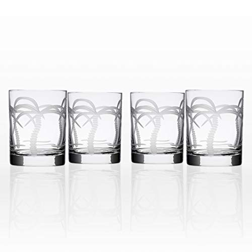 Rolf Glass Palm Tree Double Old Fashioned Glass (Set of 4), Clear