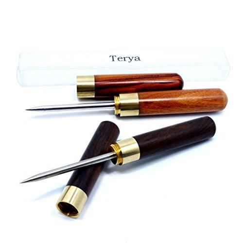 Terya Portable Wood Ice Pick Ice Tool Kitchen Tool (Ebonywood & Rosewood) (Steel Pick Ice)