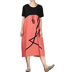 Mordenmiss Women's Cotton Linen Dresses Color Block Short Sleeve T-Shirt Dress with Pockets