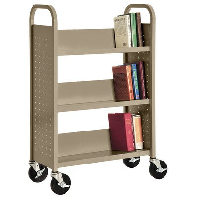 Single Sided Book Cart (Sandusky Lee SL330-04 Single Sided Sloped Shelf Book Truck, 14
