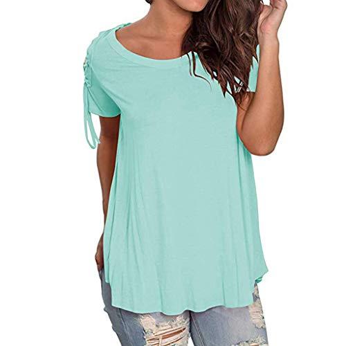Summer Tshirts for Women Miuye Ruched Hem Plain Short Sleeve Tunic Tops Elegant Belted Sleeve Blouses Tee (XL, Mint Green)