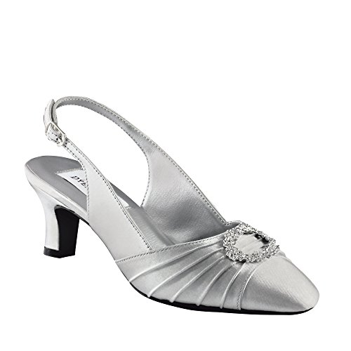 Dyeables Women's Ann Pump,Silver Satin,8 W US ()