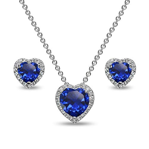 Sterling Silver Created Blue Sapphire and CZ Halo Heart Pendant Necklace & Stud Earrings Set ()