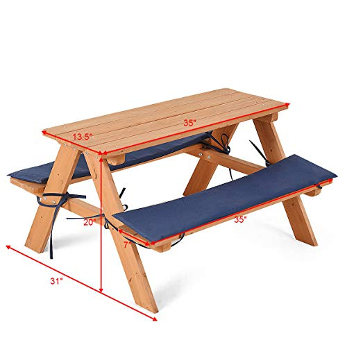 ANA Store Kids Yard Wooden Picnic Table 4 Children Patio Beach Chair with Cushion Home Work Desk Garden Chairs Set