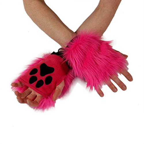 Hot Pink Cat Halloween Costumes - Pawstar Color Theme Pawlets Fingerless Glove