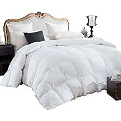 Egyptian Bedding 600-Thread-Count Egyptian Cotton Siberian Goose Down Comforter, 750 Fill Power, 70 Oz Fill Weight, King Size, 106-Inch by 90-Inch, Solid White