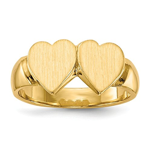 (Solid Closed Back Womens Signet Ring Double Heart Shape Custom Personailzed with Free Engraving Available of Initials ~ Size 6.75 in Solid 14K Yellow Gold by Roy Rose Jewelry)