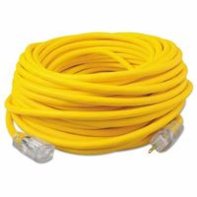 Ext Yel 12/3 Cord (SOUTHWIRE 036880002 50' YEL 12/3 RUBBER SJOOW UL EXT CORD W/LIT ENDS)