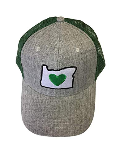 Heart in Oregon Trucker Hat Cap - Gray Blend Wool Front, Green Mesh, 6 Panel Cotton, Snap Back Adjustable, Curved Bill Baseball Cap to Show Your Love for The Pacific Northwest. (Best Delivery In Portland)