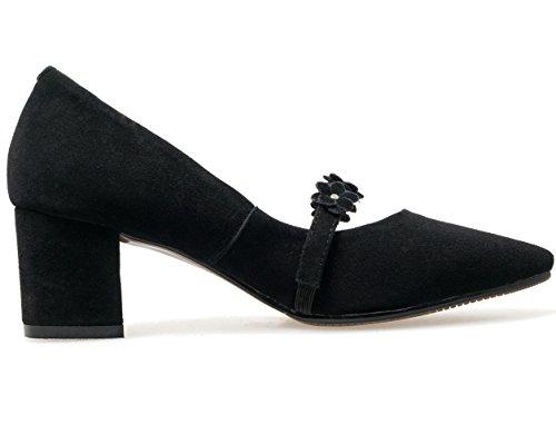 Nine Seven Cuero Puntiagudos Tacones de Tacón Grueso con Flores de Vestir para Mujer negro