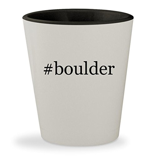 #boulder - Hashtag White Outer & Black Inner Ceramic 1.5oz Shot Glass