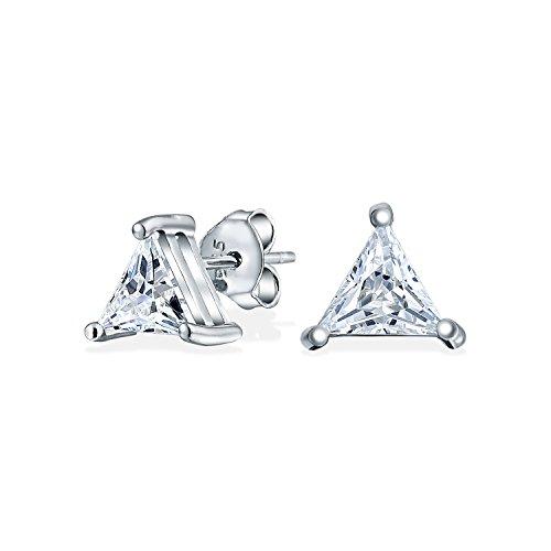 2.5CT Triangle Shaped Cubic Zirconia Basket Set Trillion Cut CZ Stud Earrings For Men Women 925 Sterling Silver