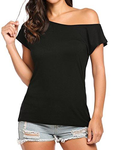 Halife Womens Off One Shoulder Short Sleeve Tshirts Loose Fit Tops (M,Black) (Knit Shoulder Tee)
