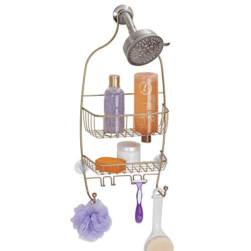 Polished Brass Shower Caddy - InterDesign Raphael Bathroom Shower Caddy, Regular - Pearl Gold