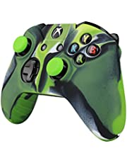 TNP Controller Case For Xbox One S / One X Soft Silicone Gel Rubber Grip Case Protective Cover Skin & 2 Matching Anti-Slip Thumb Stick Caps for Xbox One S / Xbox Wireless Gaming Gamepad (Mystic Green)