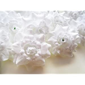 "(24) Silk White Roses Flower Head - 1.75"" - Artificial Flowers Heads Fabric Floral Supplies Wholesale Lot for Wedding Flowers Accessories Make Bridal Hair Clips Headbands Dress 58"