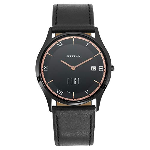 - Titan Edge Black Dial Analog Watch with Date Function for Unisex