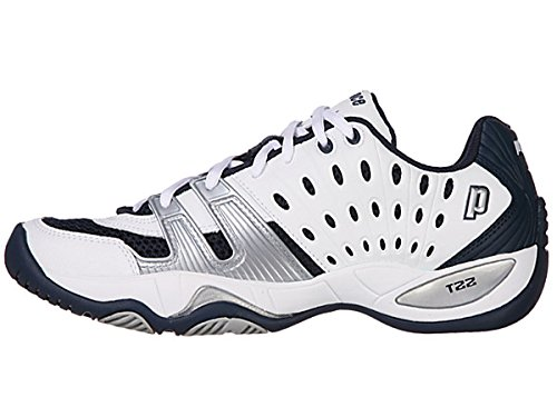 Prince Men's T22 Tennis Shoe,White/Navy/Silver,13 M US
