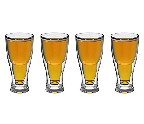 - QG 28 Ounce Clear Acrylic Plastic Double Wall Upside Down Beer Glass Set of 4