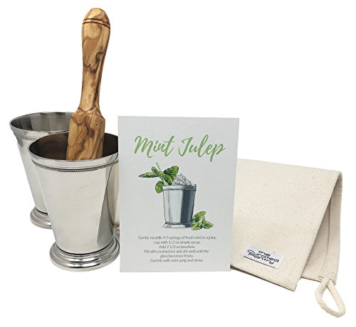 Mint Julep Cocktail Essential Tool Kit - (2) 12oz Cups, Lewis Bag, Muddler/Mallet and Recipe Card (5 items) by The Curated Pantry (Image #4)