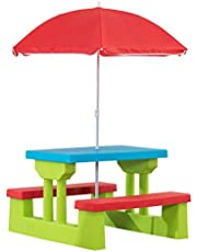 Amazon Basics Plastic Multicolored Kids Outdoor Table with Umbrella - Red/Blue/Green