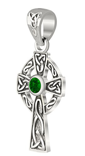 New Small 0.925 Sterling Silver Irish Celtic Knot Cross Simulated Emerald (Emerald Celtic Cross Pendant)
