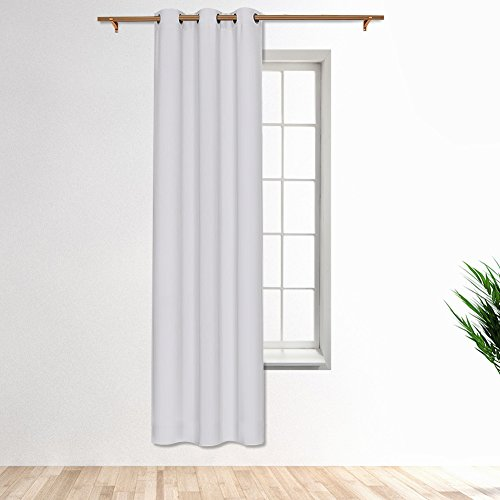 (SmilingHome Blackout Curtain/Drape with Solid Thermal Insulated Grommet-42x95 Inch-Single Panel,White )