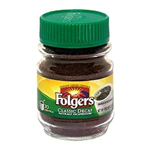 Folgers Classic Decaf Instant Coffee Crystals, 12 Ounce