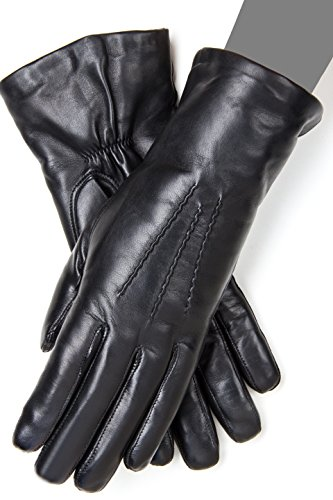 Ladies' Lined Genuine Leather Gloves (8, Black)