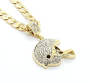 """Mens Gold Tone Iced Out Football Helmet Small Pendant 6mm 24"""" Cuban Chain Necklace"""