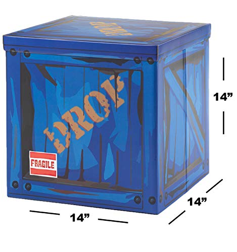 """CAMP LINER Large Loot Drop Box Accessory (14"""" x 14"""" x 14"""") - Goes with Merch Like Pickaxes, Guns, Costumes - Perfect Decoration Gift for Gamers, Boys, Parties"""