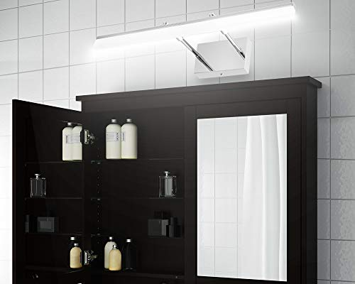 LEDMO Modern LED Bathroom Vanity Lights Retractable Cool White 6000K Stainless Steel Vanity Wall Light Adjustable Over Mirror Long LED Bathroom Lighting Fixtures(14W, 24Inch) - Retractable Design(6.1 to 8.9 inch),suitable for mirror cabinets,medicine cabinet Adjustable light direction-With the 180° rotatable hinge,adjust the light direction as you want Modern LED vanity lights Easy installation,with US Junction BOX,save your time. - bathroom-lights, bathroom-fixtures-hardware, bathroom - 410jiBLlPSL -