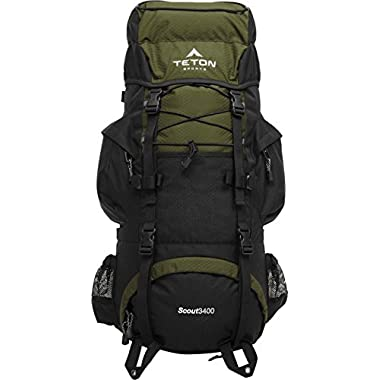 TETON Sports Scout 3400 Internal Frame Backpack; Great Backpacking Gear or Pack for Camping or Hiking, Hunter Green