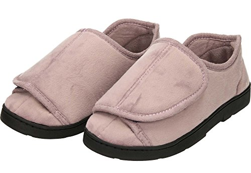 Ladies Dr Keller Velcro Soft Fleece Lightweight Slippers Shoe Purple RfTIr6dMM