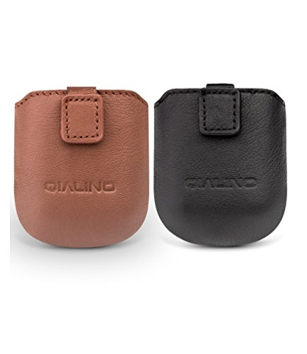 AirPods Case, QIALINO [Magnetic Closure] Real Leather Protective Cover for Apple AirPods Charging Case, Black by QIALINO
