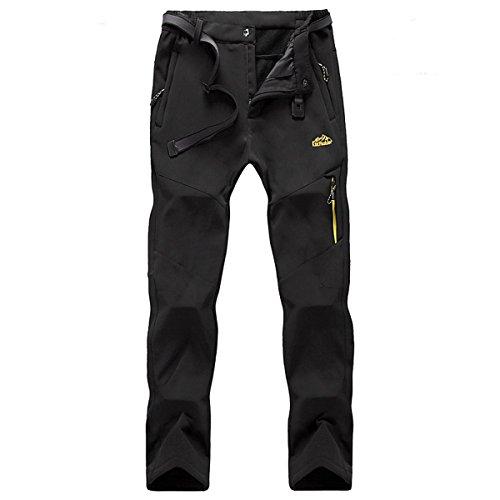 BUAAM Men's/Women's Winter Outdoor Softshell Fleece Layer Windproof Pants Medium Black
