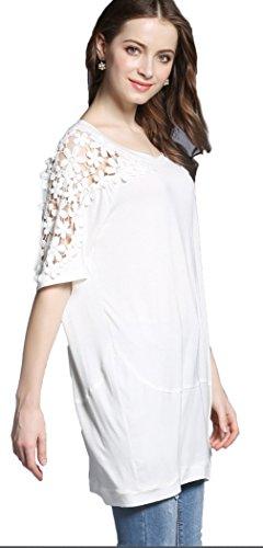 La Vogue T-Shirt Femme Blanc Dentelle Robe Mini Tunique Manche Courte Lâche Casual