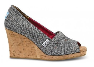 TOMS Women's Wedge Sandal Silver Karsen Size 11 B(M) US