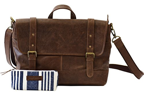 The Aartisan 16.5'' Vintage Genuine Leather Messenger Laptop Briefcase (Brompton Cocoa) Shoulder Bag Canvas Leather Free Gift Included Multi Purpose Use by THE AARTISAN