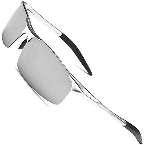 MOTELAN Men's Polarized Sunglasses for Driving Fishing Golf Metal Glasses UV400 Mirror Silver