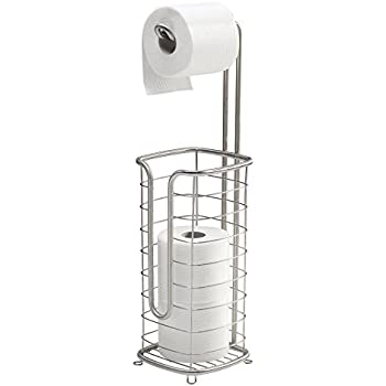 mDesign Free Standing Toilet Paper Holder for Bathroom - Square, Brushed Stainless